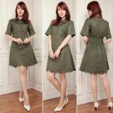 Harga Lf Dress Blouse Monica Dress Cantik Dress Polos Dress Lengan Pendek Nimo 7T Hijau Army Murah