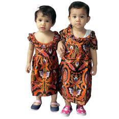 Dress Coklat Batik Anak, Baju Tidur Anak, Piyama Anak, Ukuran M, L, XL  (DKA002-01) Batik Alhadi