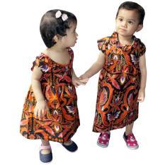 Dress Coklat Batik Anak, Baju Tidur Anak Ukuran M, Untuk Usia 6 Bulan - 2 Tahun (DKA001-02) Batik Alhadi