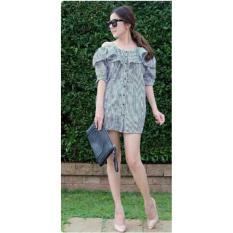 Beli Lf Dress Garis Jaquelinne Gaun Wanita Tunik Dress Hita New Midi Dress Dress Formal Kerja Kasual Santai Nr Hitam D2C Online Terpercaya