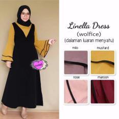 Dress Hijab Linella - Baju Fashion Muslim Ootd - Gamis Terkini - mustard