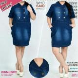 Jual Dress Jeans Jumbo Pendek Wanita Jumbo Mini Dress Reava Antik