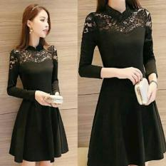 Dress (M - Fit L) KENVIE Black - Spandek Kombinasi Brokat