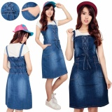 Jual Cepat Cj Collection Dress Jeans Overall Pendek Wanita Jumbo Mini Dress Ameisa Biru Muda