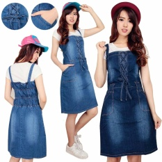 Cj Collection Dress Jeans Overall Pendek Wanita Jumbo Mini Dress Ameisa Biru Muda Dress Diskon