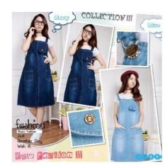 Dress Maxi Overall Wanita Jumbo Mini Dress Resa Biru Muda Asli