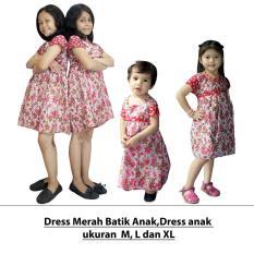 Dress Merah Batik Anak, Baju Tidur Anak Ukuran M, L, XL (DKA001-01)