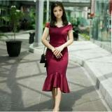 Toko Popuri Fashion Dress Miranda Wedges Scuba Baju Wanita Lengan Pendek Lengkap Di Dki Jakarta