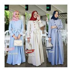 Dress model baru / Baju pesta wanita / Gamis formal : Luna denim Maxi
