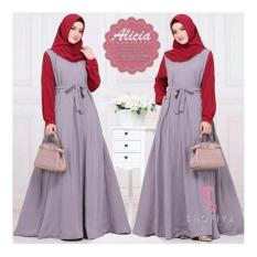 Dress Muslimah Anggun Gamis Alicia Dress+Pasmina