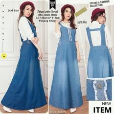Dress overall jeans gamis kaftan wanita jumbo long dress Ziva - biru muda