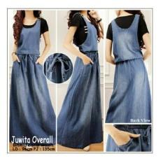 Dress overall jeans panjang gamis wanita jumbo long dress Juwina