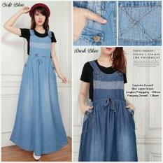Dress overall jeans panjang gamis wanita jumbo long dress Susmira - biru tua