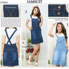 Toko Dress Overall Jeans Wanita Mini Dress Niki 01 Biru Muda Dress