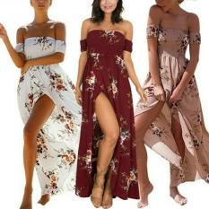Dress Pantai Sabrina Maxi BOHO Motif Bunga Import Real Picture! - Rewshl