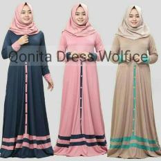 Dress Pink / Gamis Sehari Hari / Baju Muslim Wanita : Qonita Dress