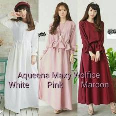Dress Putih / Baju Korea / Gamis Menyusui / Baju Pink : Aqueena Maxy