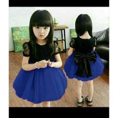 Zero One Store Dress Ribbon Blue Anak Perempuan 3-5thn