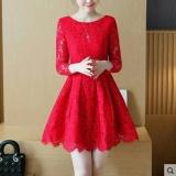 Review Dress Wanita Fashionnable Dress Brukat Melinda Merah Bryant Shop