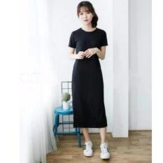 dress wanita panjang polos anisa hitam