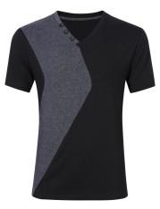 DSstyles Young Horse Men Fashion Cotton Color Block Short Sleeve Slim T-shirt Black XL Black