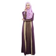 DTX158 Muslim Wanita Fashion Gaun Jahitan Gaun Lengan Panjang Melayu Pakistan (Ungu)-Intl