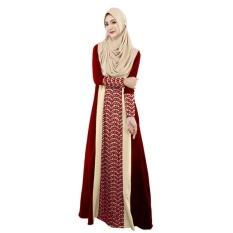 DTX158 Muslim Wanita Fashion Gaun Jahitan Gaun Lengan Panjang Melayu Pakistan (Merah)-Intl