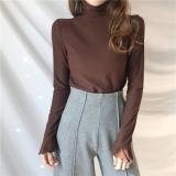 Jual Musim Gugur Dan Musim Dingin Retro Lengan Lengan Panjang Wanita Pada Pakaian Kaos Kerah Tinggi Baju Dalaman Kopi Warna Online Di Tiongkok