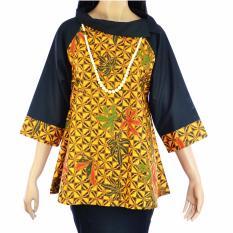 Dua Melati Atasan Blouse Batik Babydoll Tunik Sogan Modern Jubah Katun Ima LA293