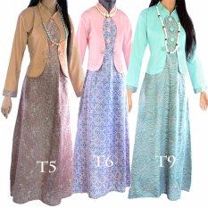 Promo Dua Melati Gamis Terusan Hijab Batik Pastel Long Dress Lt6 Dua Melati Terbaru