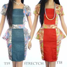 Dua Melati Terusan Dress Batik Modern Peplum Selutut LT18
