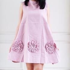 Toko Jual Dufe Flowish Dress Pink