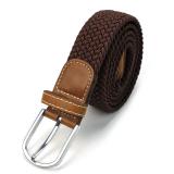 Spesifikasi Coklat Tahan Lama Pria Kulit Dikepang Elastis Peregangan Metal Buckle Belt Pinggang Intl Murah Berkualitas