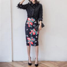 Beli E23 Korea Fashion Style Pinggang Tinggi Belahan Belakang Perempuan Rok Setengah Panjang Rok Ketat Warna Murah Tiongkok