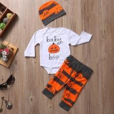 Eachgo Anak Laki-laki Perempuan Lucu Halloween Pumpkin Pola Olahragawan Olahraga Setelan Tiga Kepingan Jubah Kemeja Celana Topi Pakaian Set untuk Anak-anak (#2 80 Cm) -Internasional