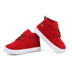 Eachgo Fashion Murni Warna Suede Martin Boots Kids Olahraga Sepatu untuk Anak Laki-laki dan Perempuan (Merah)-Intl