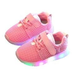 Review Eachgo Anak Anak Unisex Casual Sepatu Dipimpin Lampu Up Luminous Anak Pelatih Olahraga Sneakers Merah Muda Intl