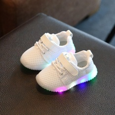 Diskon Besareachgo Anak Anak Unisex Casual Sepatu Dipimpin Lampu Up Luminous Anak Pelatih Olahraga Kets Putih Intl