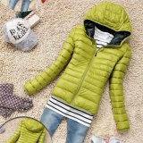 Beli Eachgo Wanita Winter Zipper Hooded Coat Tipis Permen Warna Coat Jacket Hijau Intl Murah Di Tiongkok