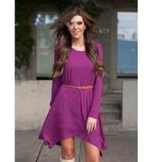 EBay Eropa dan Amerika Serikat Perdagangan Luar Negeri dan Ekspor Ke Jual Hot Pakaian Wanita Gaun Irregular Lengan Panjang gaun untuk Mengirim Belt-Intl