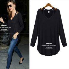 EBay Cepat Menjual Melalui 2015 Baru Eropa dan Amerika Fashion Wanita Kasual Strapless Lengan Panjang V Neck Shirt T Shirt Shirt-Intl