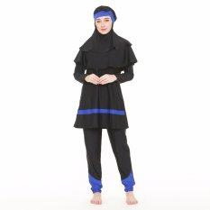 Edora Sport Baju Baju Renang Muslimah Dewasa EMP-001-Hitam-Biru