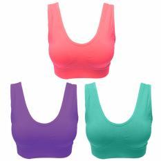 Harga Eelic Bra 86983 Pink Ungu Hijau 3 Pcs Polos Sport Bra Baju Dalam Yoga Senam Aerobic Tanktop Original