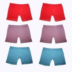 Jual Cepat Eelic Cdw 508 6 Pcs Merah Biru Pink Celana Dalam Wanita Short