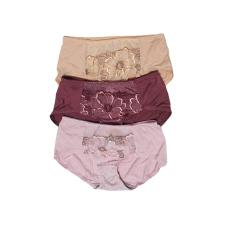 Ulasan Eelic K 3857 Celana Dalam Wanita 3 Pcs Warna Cream Ungu Muda Dan Ungu Desain Renda Halus Dengan Motif Bunga Di Tengah