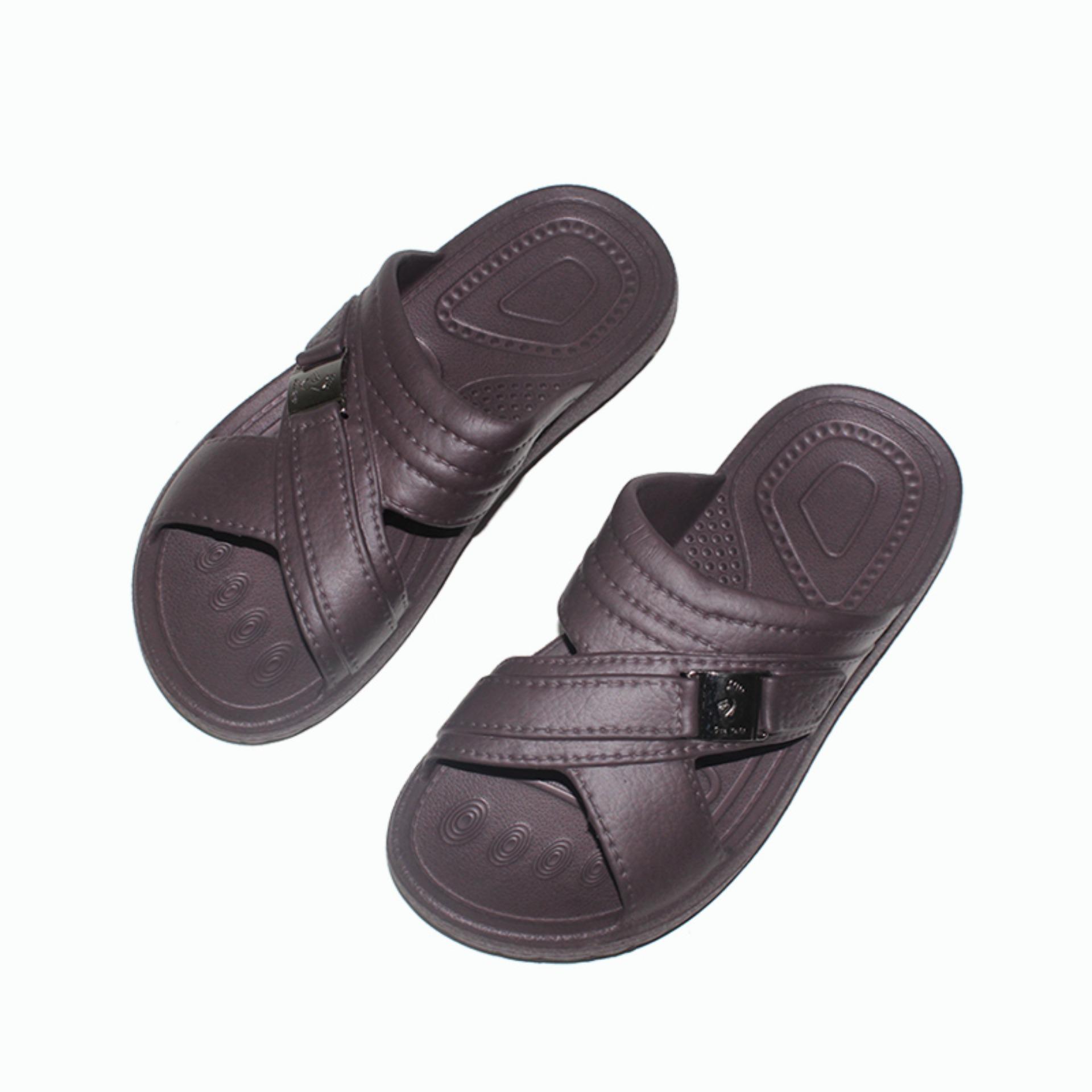 Untuk Dewasa EELIC SSK-509 COKLAT 1 PCS Sandal Selop Karet Anti Slip Pria Dewasa