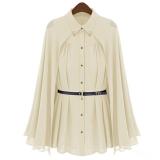 Beli Egc Baru Turn Down Collar Chiffon Shirt Blus Wanita Tops Sun Protection Beige Cicilan