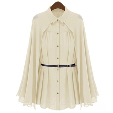 Spek Egc Baru Turn Down Collar Chiffon Shirt Blus Wanita Tops Sun Protection Beige Tiongkok