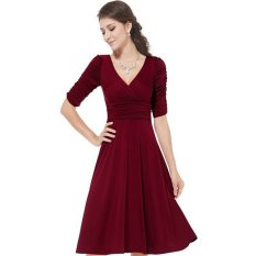 Jual Egc Baru Dalam Wanita Seksi V Paruh Lengan Gaun Kain Merah Anggur Original