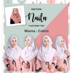 El Hijab 4in1 Pastan Naila Instan - Kerudung Jilbab Instan Fashion Muslim Scarf Khimar Hijab Jilbab Instan Syari Khimar Polos Pashmina Polos Hijab Modern Hijab Kekinian Khimar Instan - Coklat